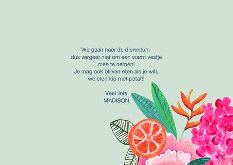 Uitnodiging Kinderfeestje Tropische Bloemen 3