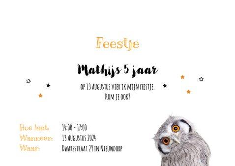 Uitnodiging - Kinderfeestje - Uiltje oranje ogen 3
