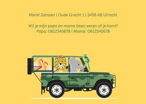 Uitnodiging kinderfeestje vanuit een stoere jeep 3