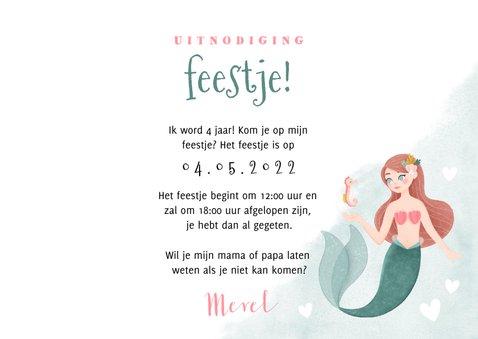 Uitnodiging kinderfeestje zeemeermin, zeepaardje en hartjes 3