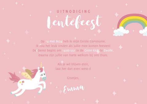 Uitnodiging lentefeest met eenhoorns, regenbogen en foto's 3