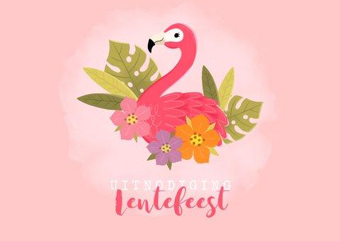 Uitnodiging lentefeest met flamingo, bloemen en foto 2