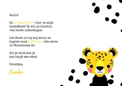 Uitnodiging lentefeest met luipaard, stippen en foto 3