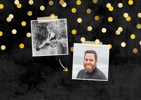 Uitnodiging 'let's party' krijtbord met foto's en confetti 2