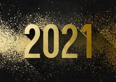 Uitnodiging nieuwjaarsborrel goudlook met spetters 2