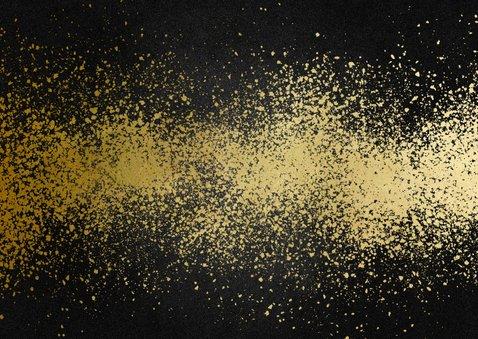 Uitnodiging nieuwjaarsborrel goudlook met spetters Achterkant