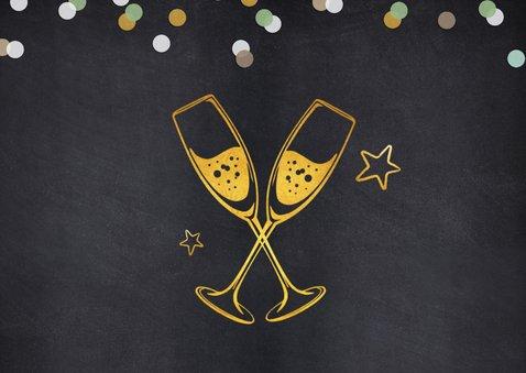 Uitnodiging nieuwjaarsborrel proost met champagneglazen 2