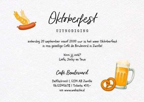 Uitnodiging oktoberfest hout foto bier worst pretzel 3