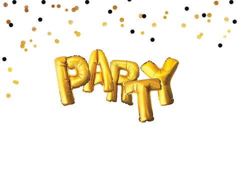 Uitnodiging party goud ballonnen confetti 2