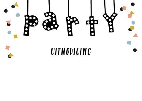 Uitnodiging party lampjes slinger confetti 2