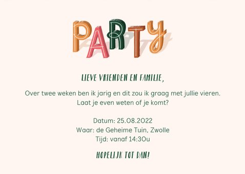 Uitnodiging party met confetti 3