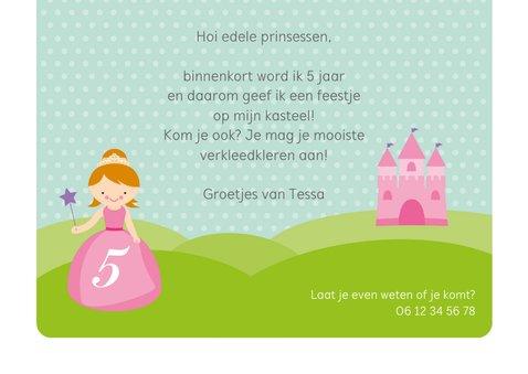 Uitnodiging prinsessenfeestje prinses met kasteel 3