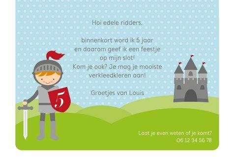 Uitnodiging ridderfeestje ridder met kasteel 3