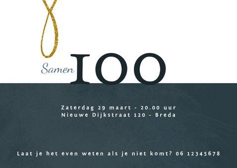 Uitnodiging 'Samen 100' geschreven tekst in goudkleur 3