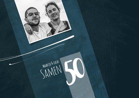 Uitnodiging samen 50, eenvoudig met speelse lijnen 2