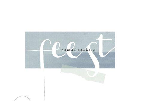 Uitnodiging 'samen 80', eenvoudig met leuke typografie 2