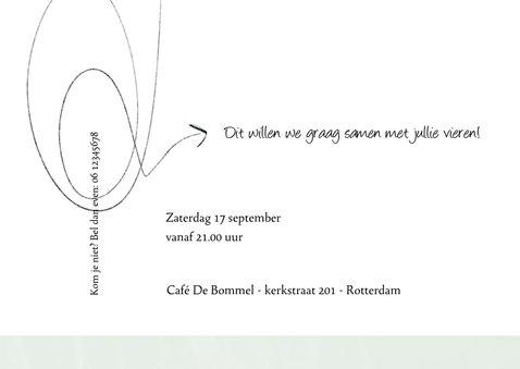 Uitnodiging 'samen 80', eenvoudig met leuke typografie 3