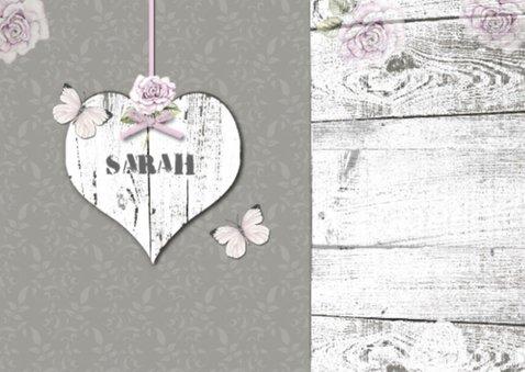 uitnodiging Sarah vintage hart en foto 2