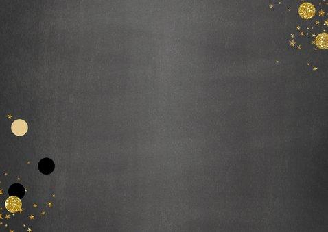 Uitnodiging stijlvolle foto kaart krijtbord met confetti 2