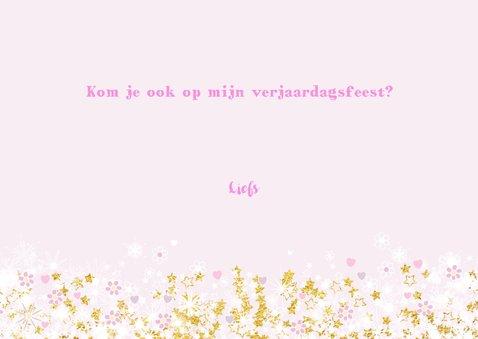 Uitnodiging stijlvolle fotokaart hartjes een bloemen 3