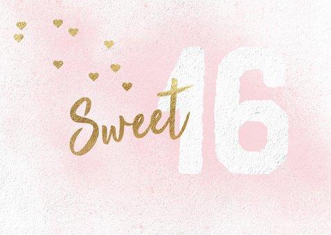 Uitnodiging Sweet Sixteen meisje roze 2