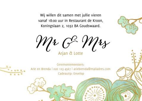Uitnodiging trouwkaart bruiloft tuin bloemen 3
