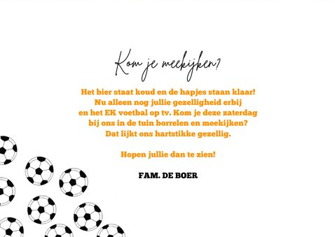Uitnodiging TV EK voetbal kijken hup holland hup oranje 3