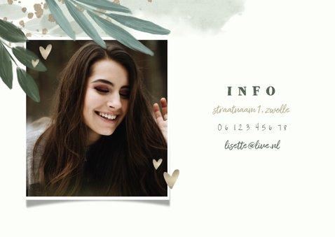 Uitnodiging 'twenty one' botanisch met gouden hartjes 2