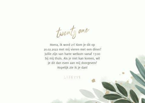 Uitnodiging 'twenty one' botanisch met gouden hartjes 3