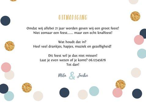 Uitnodiging verjaardag confetti polkadot goud foto 3