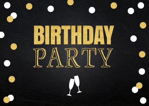 Uitnodiging verjaardag foto confetti goud krijtbord 2