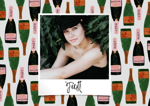 Uitnodiging verjaardag met foto's en champagne illustraties 2