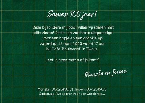 Uitnodiging verjaardag samen 100 jaar fotos op krijtbord 3