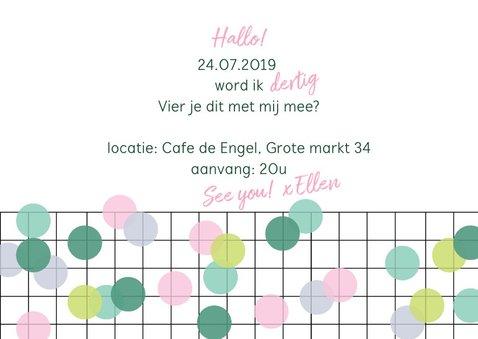 Uitnodiging verjaardag vrouw confetti 3