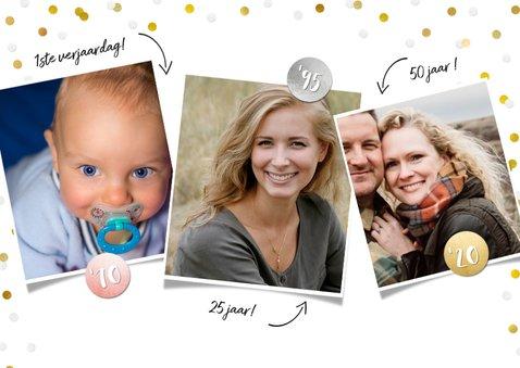 Uitnodiging verjaardagsfeest confetti fotocollage 3 foto's  2