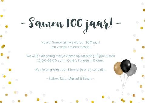 Uitnodiging voor een samen 100 feestje met 4 eigen foto's 3