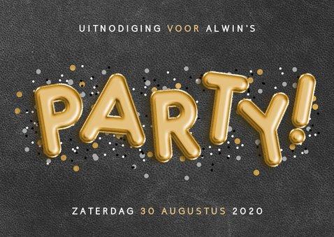 Uitnodiging voor een verjaardag met ballonnen en confetti 2