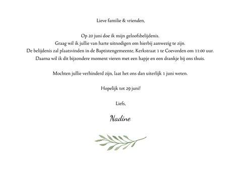 Uitnodiging voor mijn geloofsbelijdenis met botanisch kruis 3