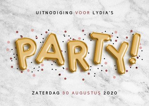Uitnodiging voor verjaardag met folie ballonnen en confetti 2
