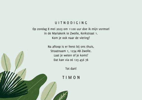 Uitnodiging Vormsel hip met jungle planten en aapjes 3