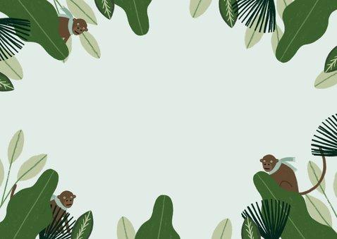 Uitnodiging Vormsel hip met jungle planten en aapjes Achterkant