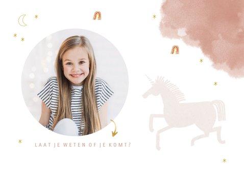 Uitnodiging vormsel lief met unicorn en regenbogen 2