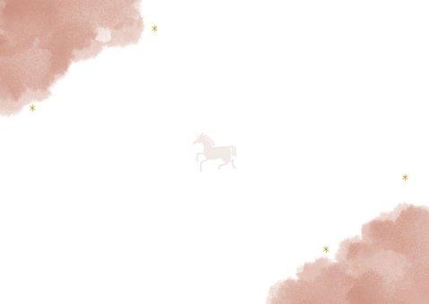 Uitnodiging vormsel lief met unicorn en regenbogen Achterkant