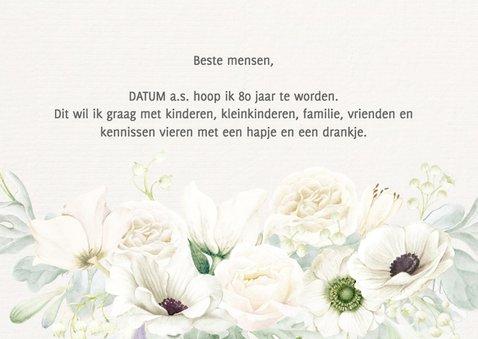 Uitnodiging witte bloemen 80 jaar 2