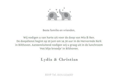 Uitnodigingskaart doop olifant tweeling foto's binnen 3