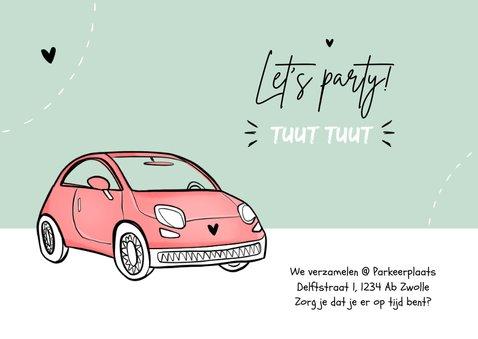 Uitnodigingskaart drive-thru auto vrouw verjaardag foto 2