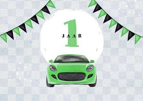 Uitnodigingskaart kind 1 jaar auto groen vlaggen foto 2