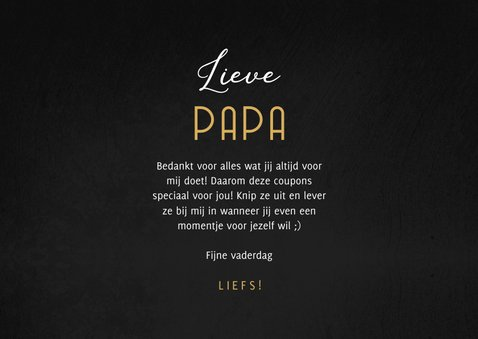 Vaderdag kaart met 5 uitknipbare Papa's coupons 3