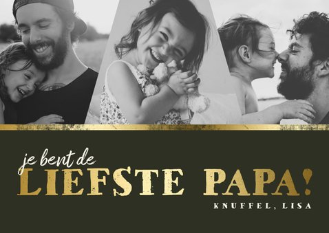 Vaderdagkaart fotocollage 'liefste papa' goud 2