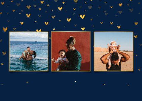 Vaderdagkaart fotocollage 'liefste papa!' met hartjes 2